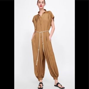 Zara Jumpsuit Satin Taupe M (belt not incl)